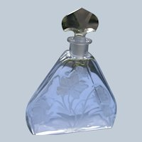 """Luxor Perfume Bottle """"Lybis"""" 1924 Hard to Find Clear Deep Etched Crystal"""
