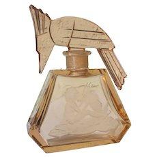 Czechoslovakian Perfume Bottle with Figural Bird Stopper Hoffman/Ingrid Bottle with Butterfly 1930's