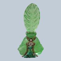 Jeweled Czechoslovakian Perfume Bottle 1920-30's Feather Stopper