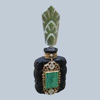 Czechoslovakian Jeweled Perfume Bottle 1920's - 1930's