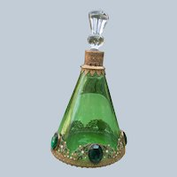 Jeweled Perfume Bottle Czechoslovakian 1920's 30's Excellent Condition Green Large