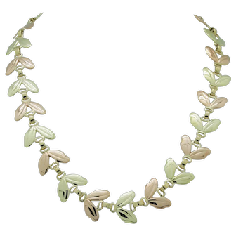 """RARE Vintage 1950's Tiffany & Co. 14k Pink and Yellow Gold Leaf Necklace 15.5"""""""