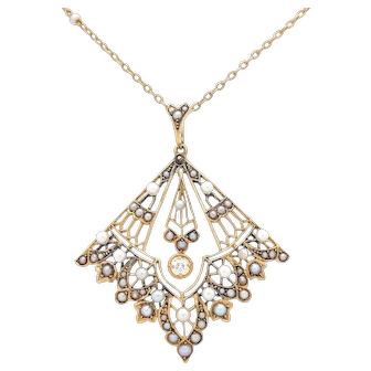 """14k Yellow Gold Victorian Diamond & Seed Pearl Pendant Necklace 16"""""""