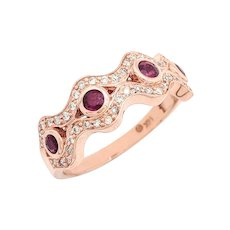14K Rose Gold Ruby & Diamond Right Hand Ring Size 9