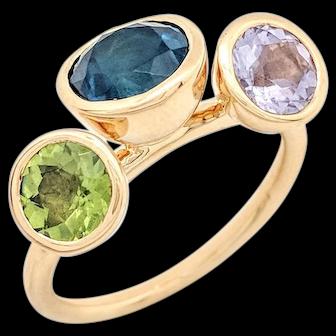18K Yellow Gold Multi-Gemstone Right Hand Ring Size 8