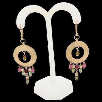 14K Yellow Gold Pink & Green Amethyst Dangle Earrings