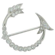 Ladies Platinum 1ctw Diamond Brooch Pin 6.9 Grams
