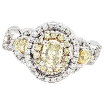 Fancy Yellow & Natural White Diamond Engagement Ring 1.50ctw