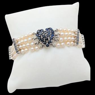 "Ladies 14k White Gold 2.86CTW Sapphire Heart Multi-Strand Pearl Bracelet 7"""