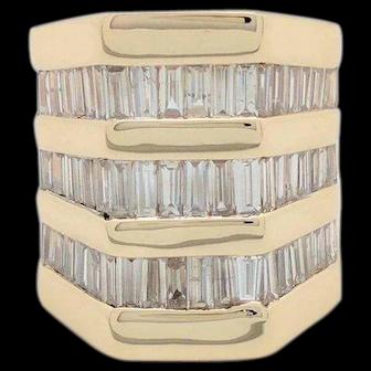 Custom Ladies 14k Yellow Gold 3.5ctw Baguette Diamond Wide Band Ring