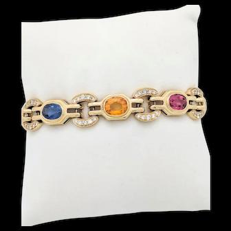 "Ladies 18k Yellow Gold Multi-Colored Sapphire & Diamond Bracelet 6.75"" 31.2 Grams"
