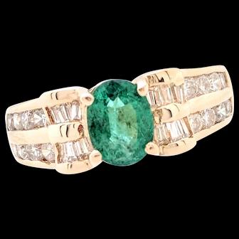 14K Yellow Gold Emerald & Diamond Ring Size 5
