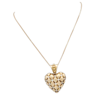 "14K Yellow Gold Diamond Heart Pendant Necklace 18"""
