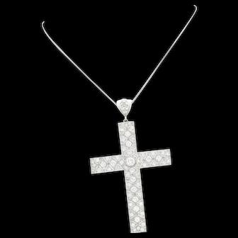 STUNNING Art Deco Filigree Platinum Diamond Cross Pendant Necklace