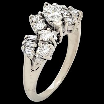 14k White Gold Diamond Estate Ring