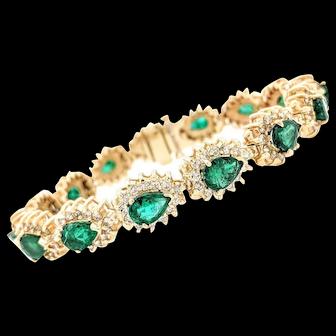 "14K Yellow Gold Emerald & Diamond Tennis Bracelet 7"""