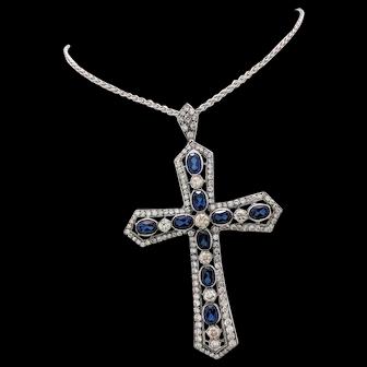 "STUNNING 18k White Gold Diamond & Sapphire Cross Pendant Necklace 24"" 14CTW"