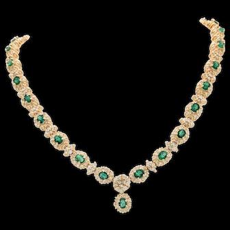 "14K Yellow Gold 16.72ctw Emerald & Diamond Tennis Necklace 16"" 54.8 Grams"