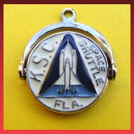 RARE Sterling Spinner Charm KENNEDY Space Center SHUTTLE FL