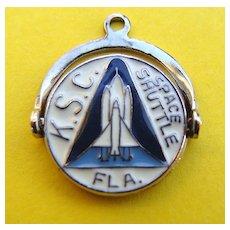 RARE Sterling Spinner Charm KENNEDY Space Center SHUTTLE FL