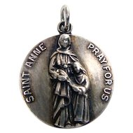 Beautiful Sterling Saint Anne & Mary Religious Medal Charm