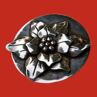 SUPER Art Deco Signed Handcrafted Sterling Flower Pin Brooch