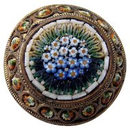 3D Antique Victorian Micro MOSAIC Pin Brooch