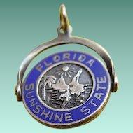 Sterling Enamel FLORIDA Sunshine State FL Spinner Charm