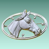 Mid Century Sterling 3D HORSE Head Pin