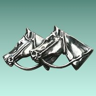 HEFTY Sterling Silver Double Horse Head Pin