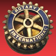 Vintage 10K Gold Enamel Rotary International Lapel Pin