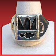 Artist Signed HOPI Overlay Silver Ring HEFTY 10