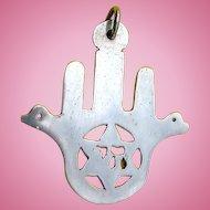 Sterling Silver HAMSA Hand Hebrew Chai Star of David Pendant