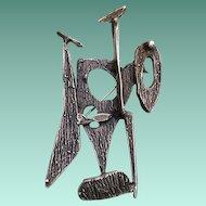 Signed 3D MOD Brutalist Sterling Silver Pin Pendant Sculpture