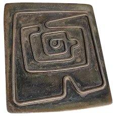 Artist Signed Modernist Silver MAZE Pin