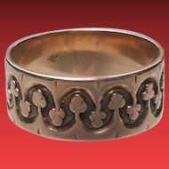ANTIQUE 14K Victorian ROSE Gold Patterned WIDE Band Ring 8 1/4