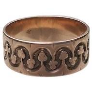 ANTIQUE 14K Victorian ROSE Gold Patterned WIDE Band Ring 8 1/4
