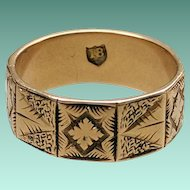 ANTIQUE Victorian 18K Gold Wide Band Engraved Panels