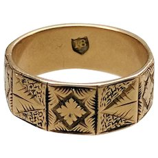 ANTIQUE Victorian 18K Gold Wide Band Engraved Panels