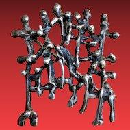 Artist Signed BRUTALIST Sterling Sculptural Pin Pendant ISRAEL