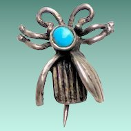 Native American Sterling Turquoise Flying BUG Fly Pin