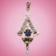 Victorian Rose & Green GOLD Sapphire Glass Pearl LAVALIER Pendant Lavaliere