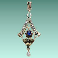 Victorian Rose & Green GOLD Sapphire Glass Pearl LAVALIER Pendant Lavaliere