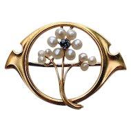 Art Nouveau 10K Gold SAPPHIRE Seed Pearl Flower Pin