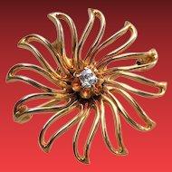 Victorian 10K Gold DIAMOND Starburst Spider Pin Pendant