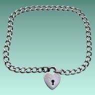 Antique VICTORIAN Sterling Silver HEART Padlock Bracelet Child