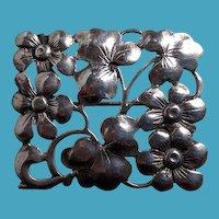 BAUR Sterling Arts Crafts Style Floral Pin