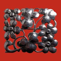 BAUR Sterling Arts Crafts Style Floral Pin