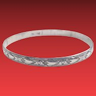 DANECRAFT Sterling Bangle HEARTS Flowers