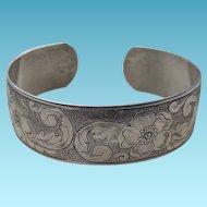 Art Deco Sterling Engraved Flexible Cuff Bracelet